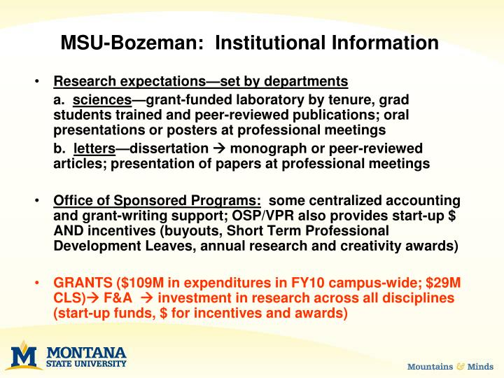 MSU-Bozeman:  Institutional Information