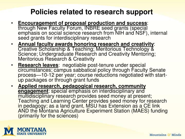 Policies related to research support