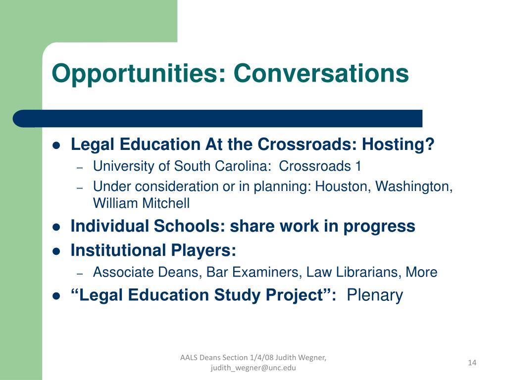 Opportunities: Conversations