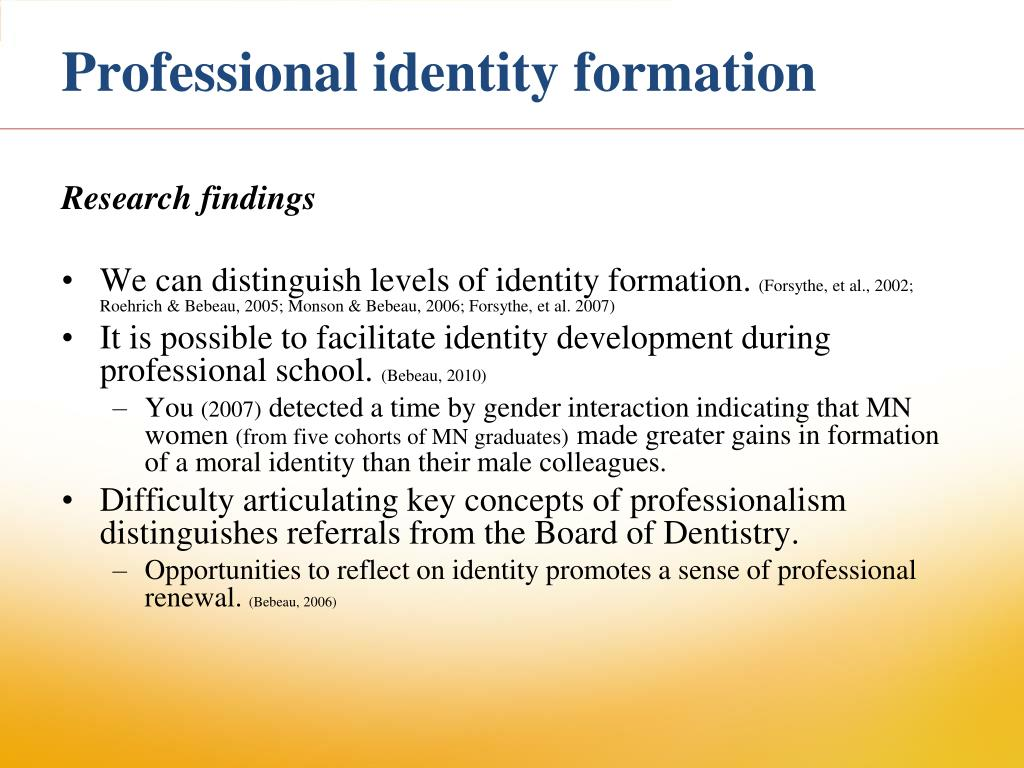 identity formation The identity formation process is extremely arduous for some, and the resolutions of a negative identity or identity foreclosure are two means by which the identity formation process can be bypassed a negative identity involves identity choices based on roles and values that represent polar opposites of those espoused by one's family and/or immediate community.