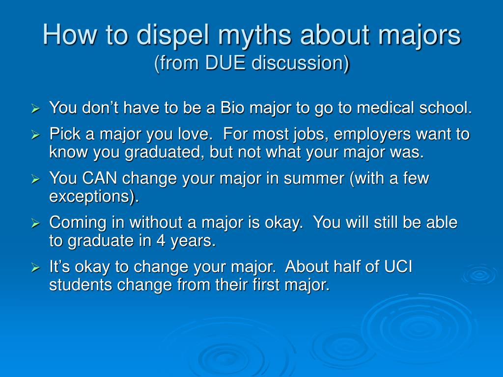 How to dispel myths about majors