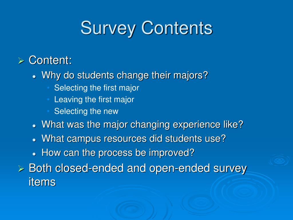 Survey Contents