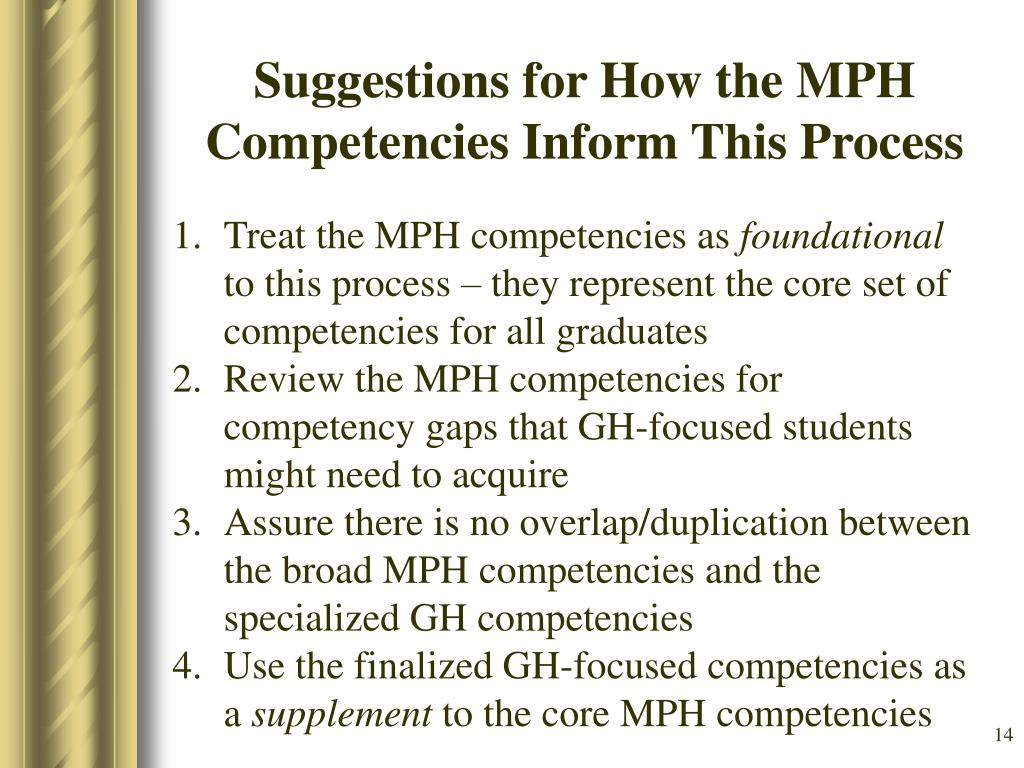 Suggestions for How the MPH Competencies Inform This Process