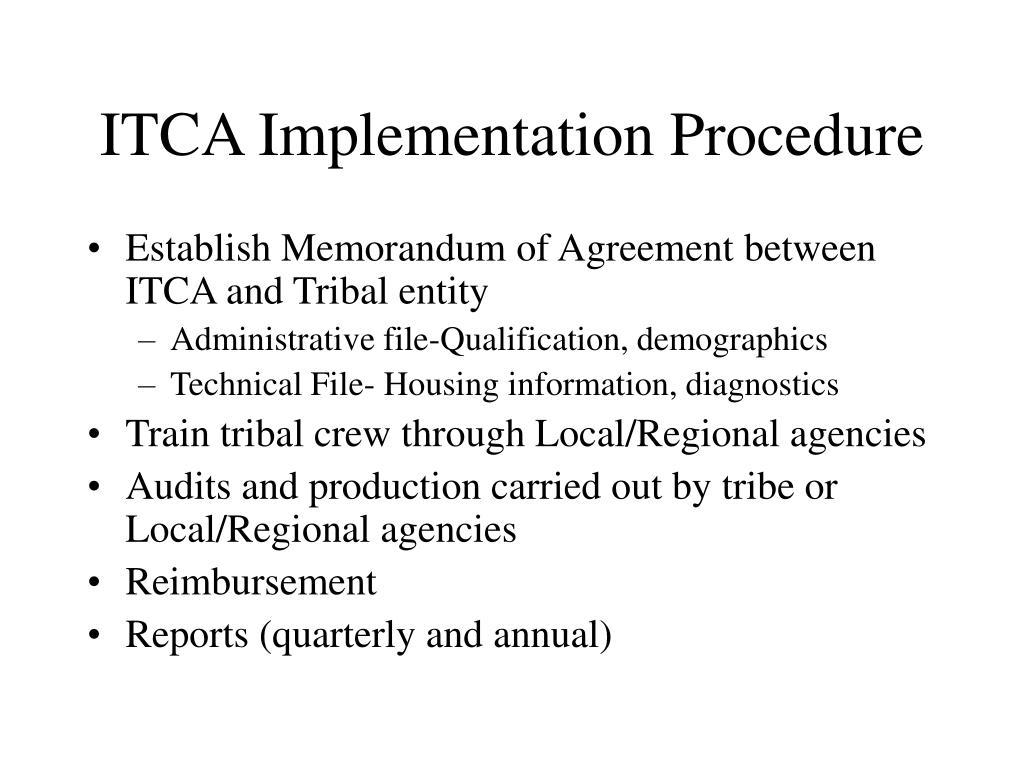 ITCA Implementation Procedure