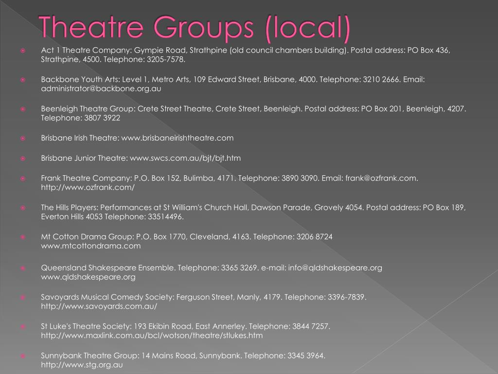 Theatre Groups (local)