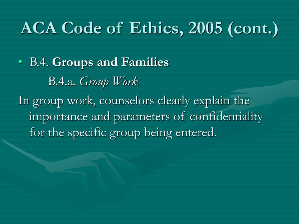 ethics and group therapy View essay - inge_julie_group ethics paper from hsmf 620 at liberty university online, lynchburg running head: ethics and group therapy ethics and group therapy julie m inge liberty.