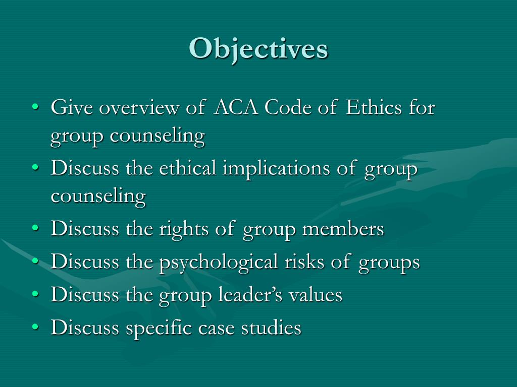 ethics and group therapy Ethics and boundary issues  marital and family therapy and various malpractice liabilities  group designed to provide rules for right conduct bersoff.
