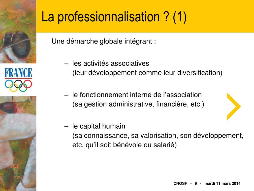 La professionnalisation ? (1)