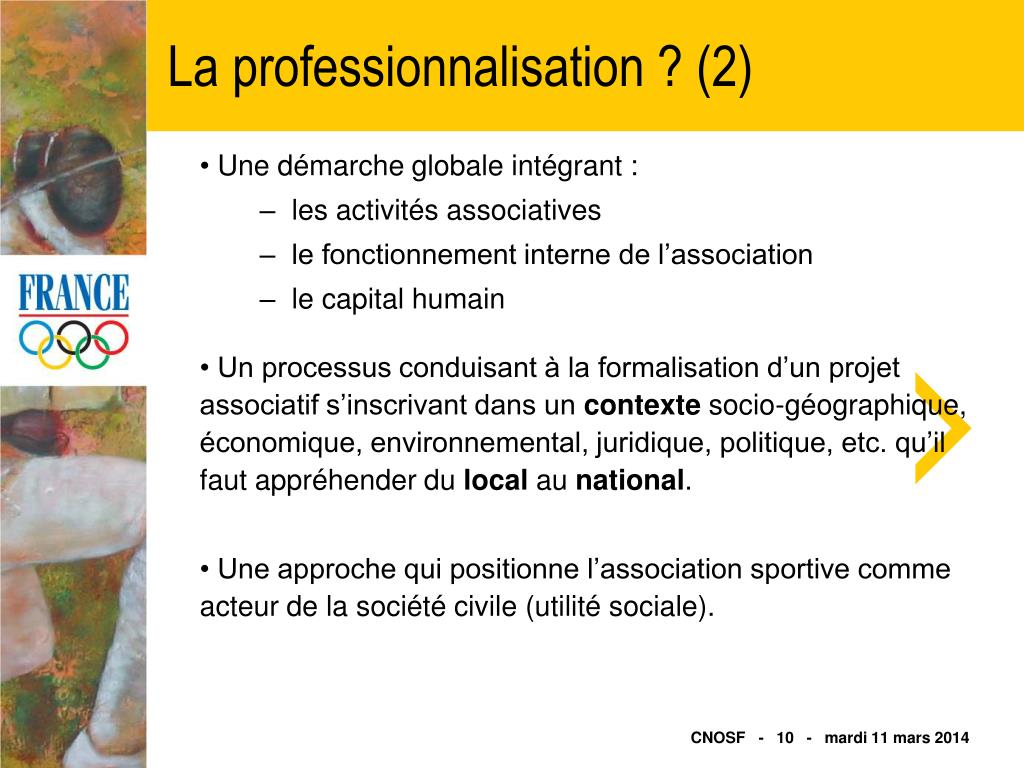 La professionnalisation ? (2)