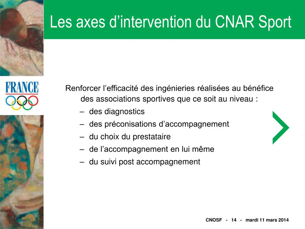 Les axes d'intervention du CNAR Sport