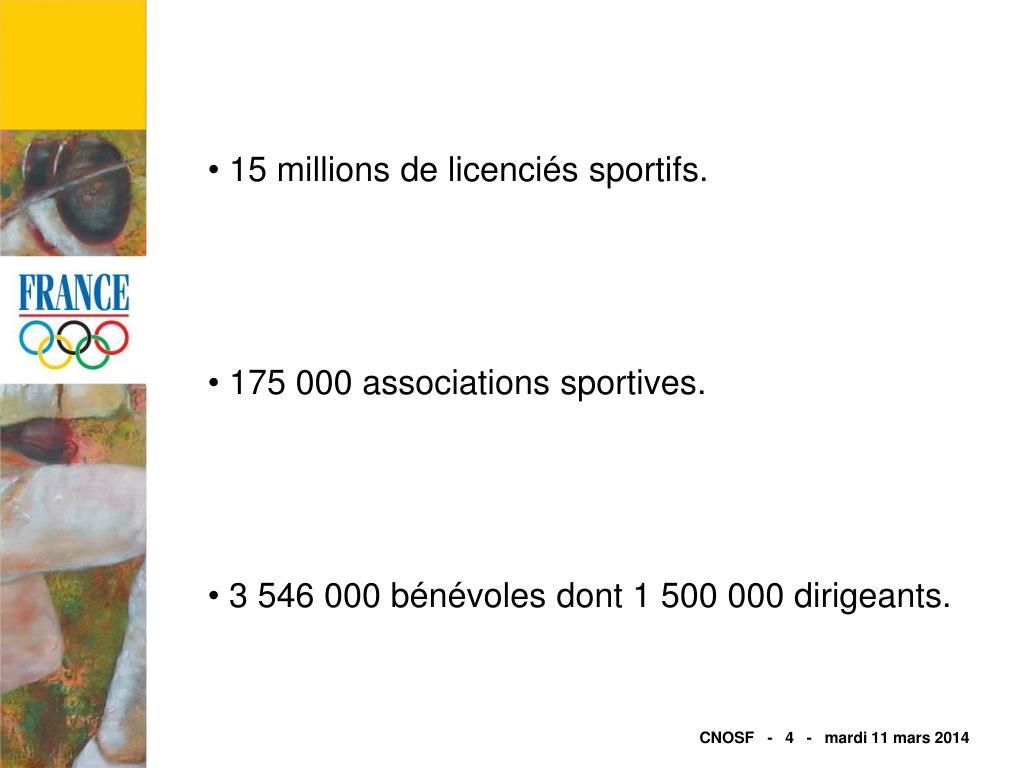 15 millions de licenciés sportifs.