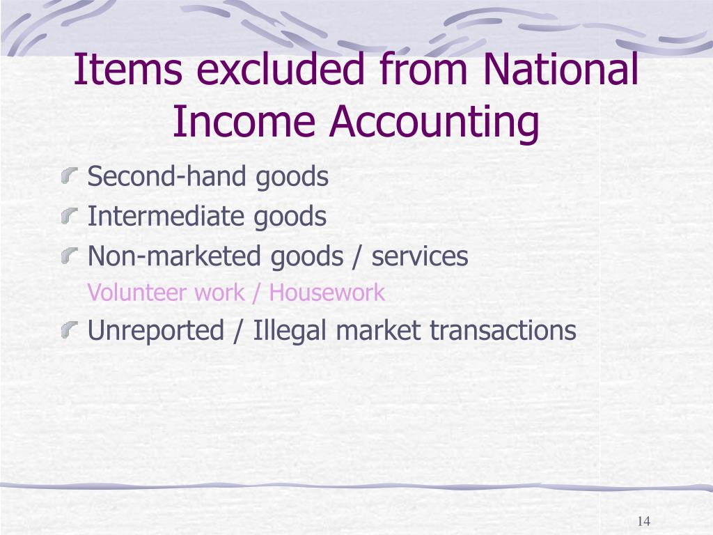 Items excluded from National Income Accounting