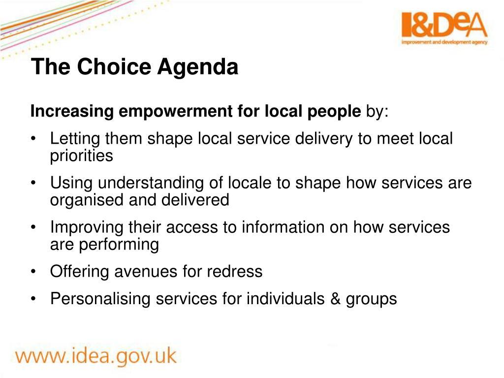 The Choice Agenda