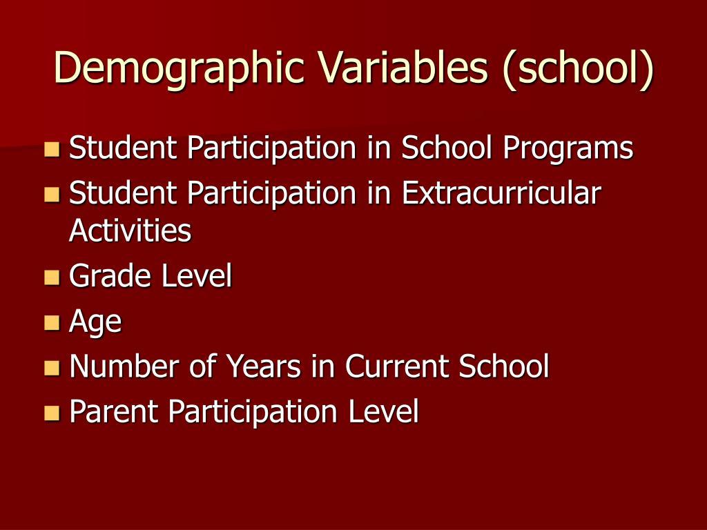 Demographic Variables (school)