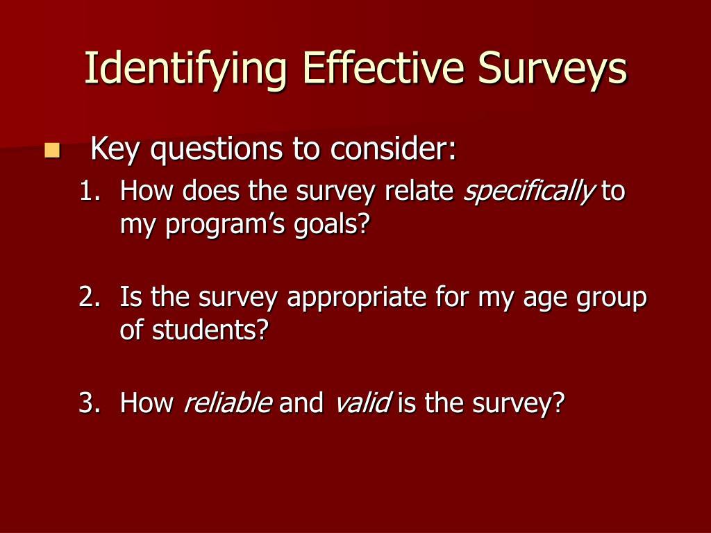 Identifying Effective Surveys