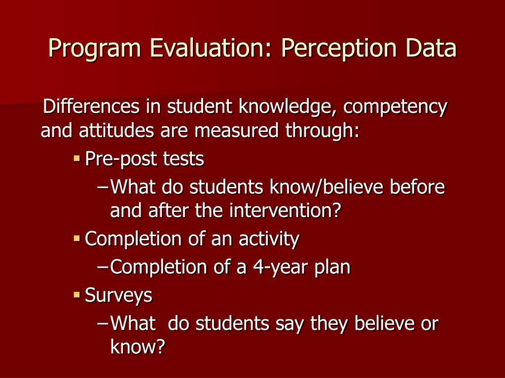 Program Evaluation: Perception Data