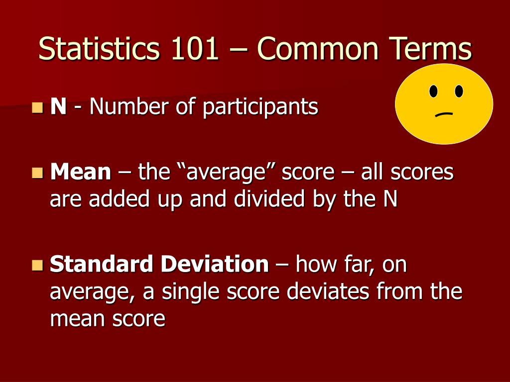 Statistics 101 – Common Terms
