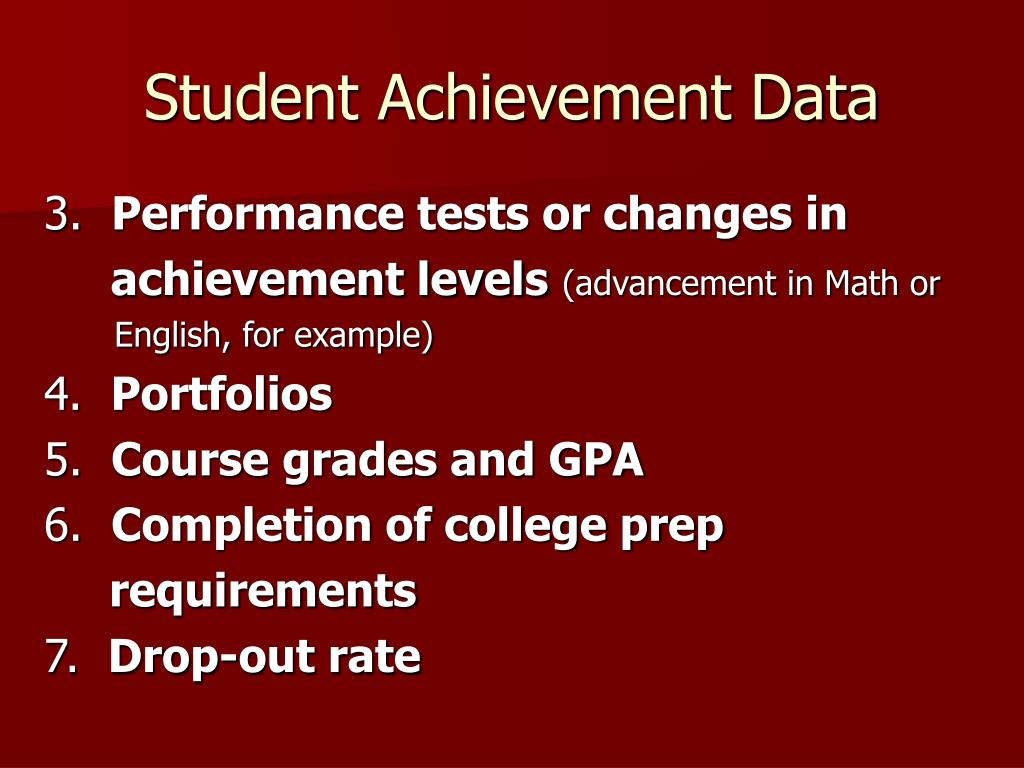 Student Achievement Data