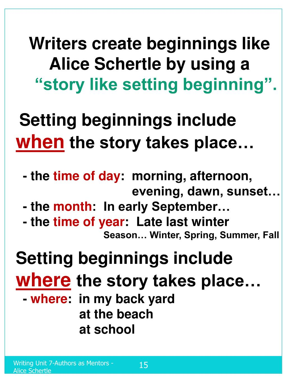 Writers create beginnings like Alice