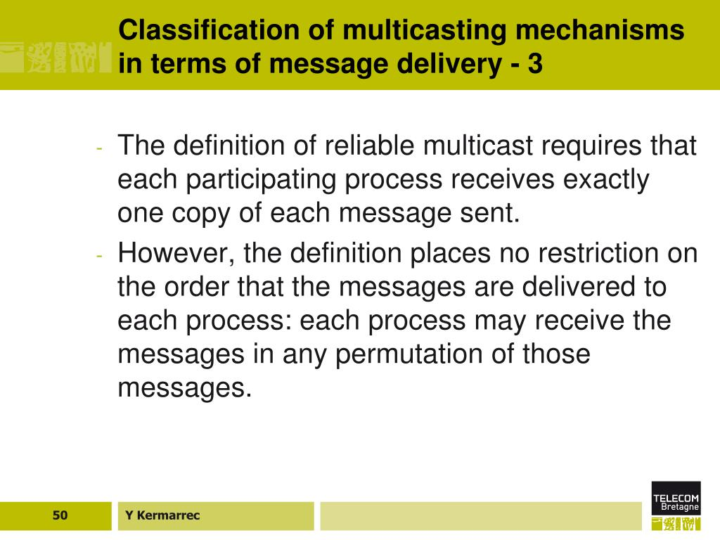 Classification of multicasting mechanisms in terms of message delivery - 3