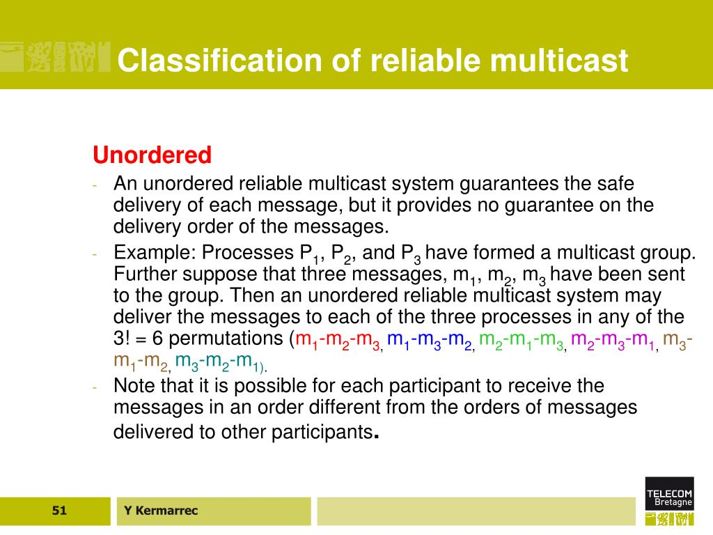 Classification of reliable multicast