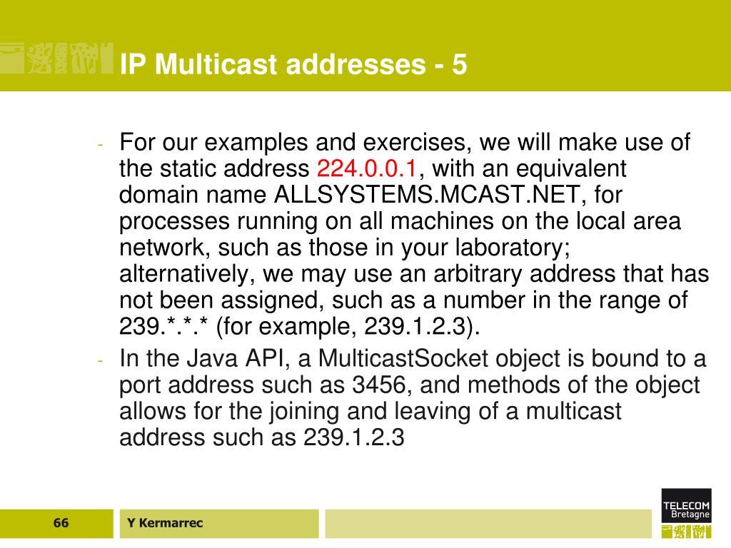 IP Multicast addresses - 5
