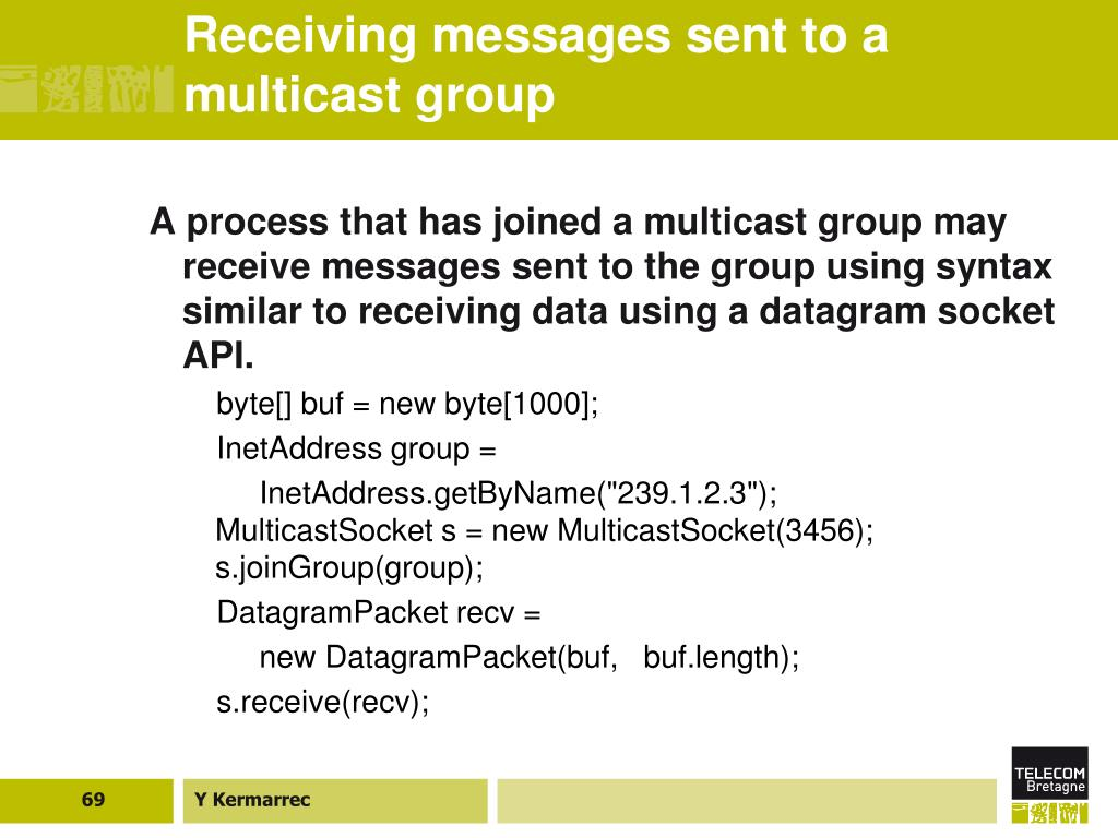 Receiving messages sent to a multicast group