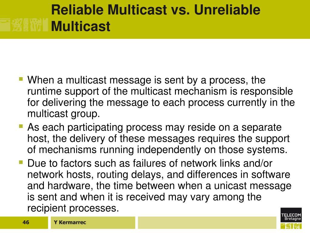 Reliable Multicast vs. Unreliable Multicast