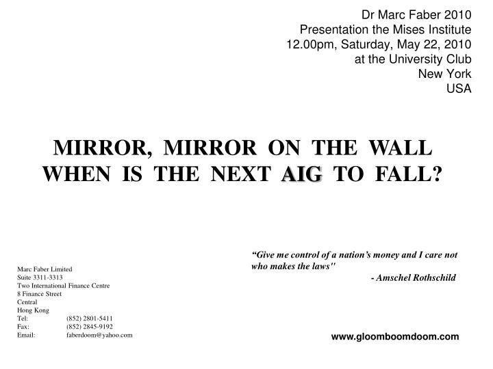 Dr Marc Faber 2010