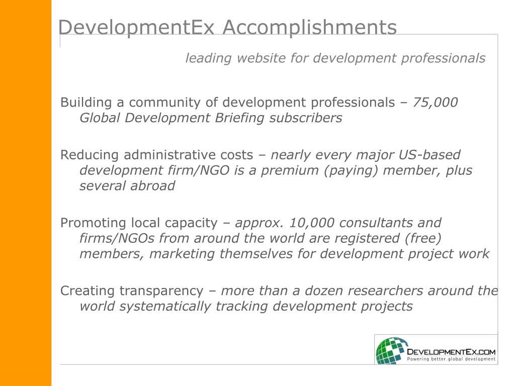 DevelopmentEx Accomplishments