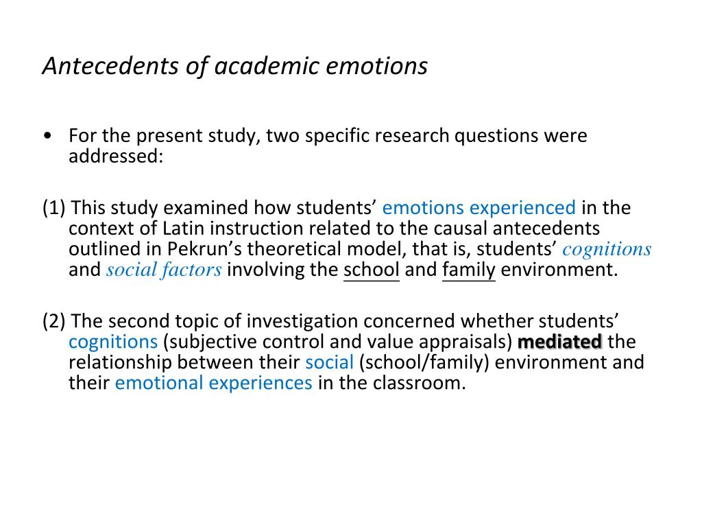 Antecedents of academic emotions