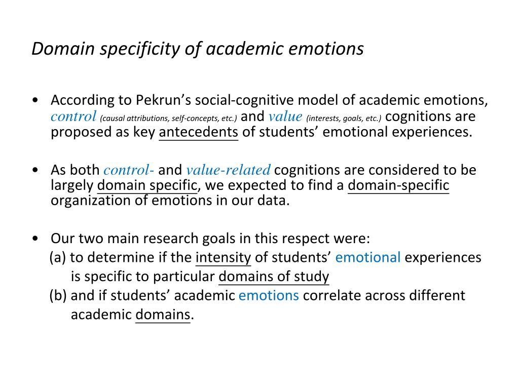 Domain specificity of academic emotions