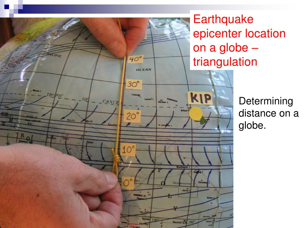 Earthquake epicenter location on a globe –  triangulation