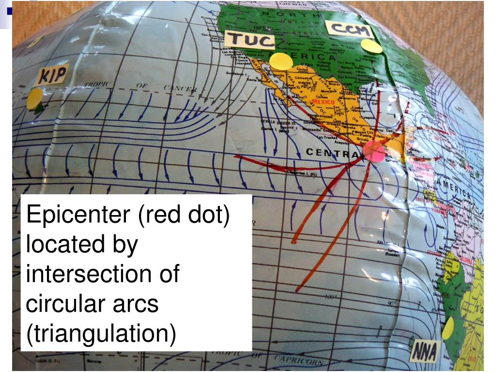 Epicenter (red dot) located by intersection of circular arcs (triangulation)