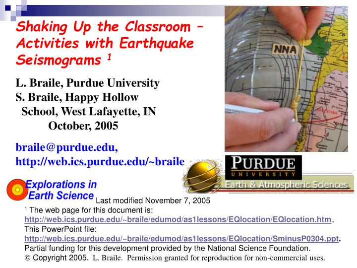 Shaking Up the Classroom – Activities with Earthquake Seismograms
