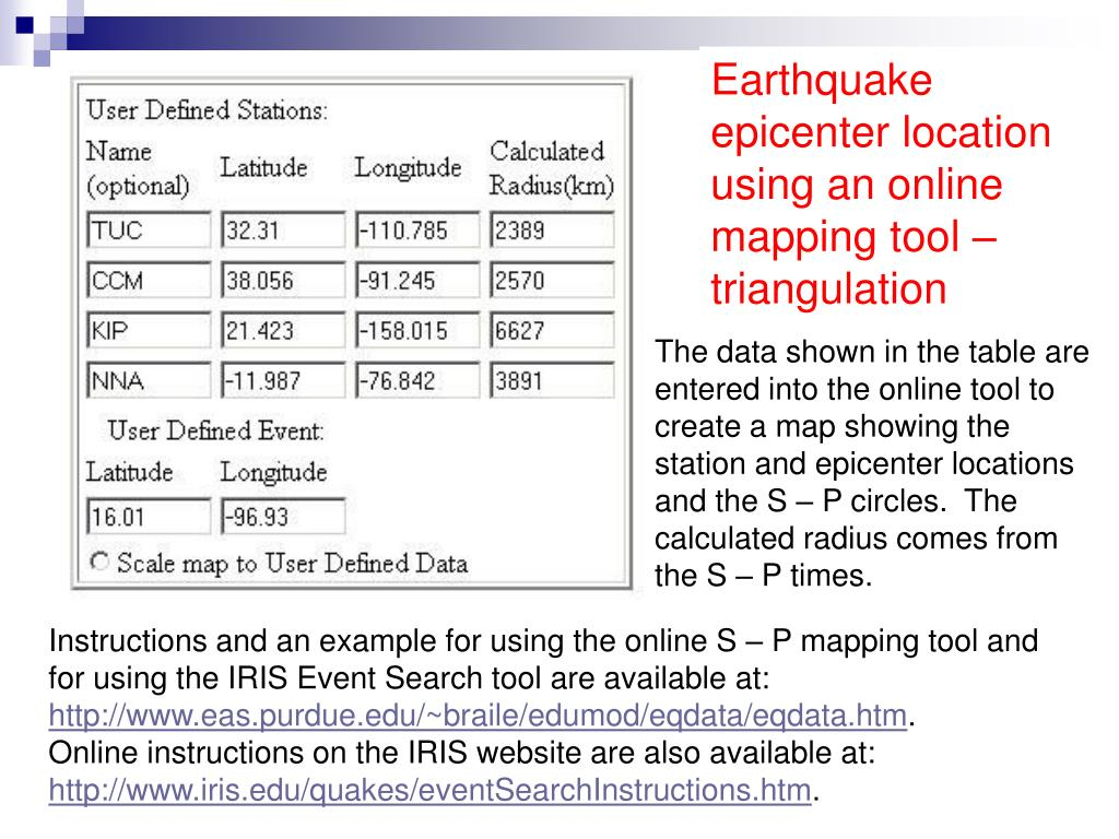 Earthquake epicenter location using an online mapping tool –  triangulation