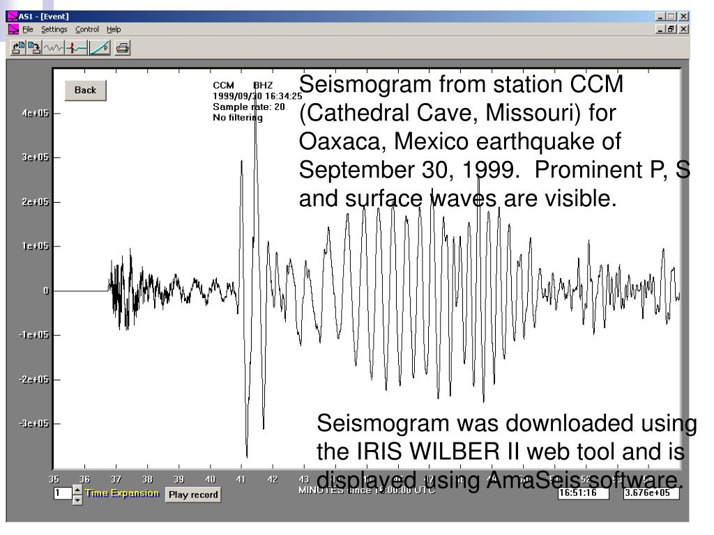 Seismogram from station CCM (Cathedral Cave, Missouri) for Oaxaca, Mexico earthquake of September 30, 1999.  Prominent P, S and surface waves are visible.