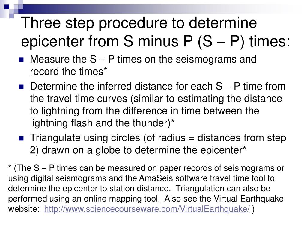Three step procedure to determine epicenter from S minus P (S – P) times: