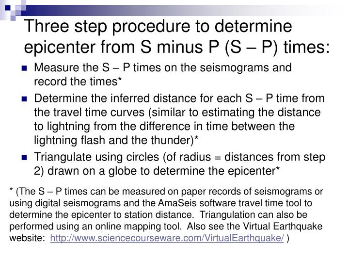 Three step procedure to determine epicenter from s minus p s p times
