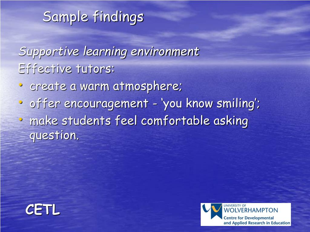 Sample findings