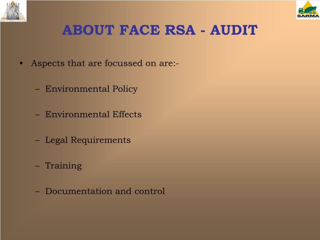 ABOUT FACE RSA - AUDIT