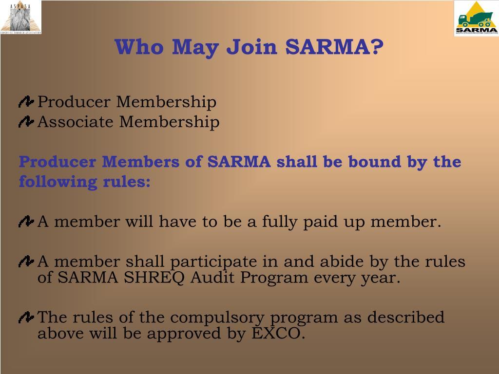 Who May Join SARMA?