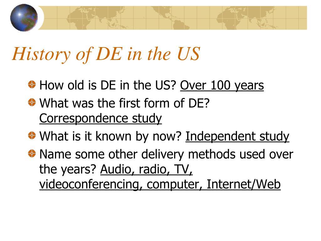 History of DE in the US