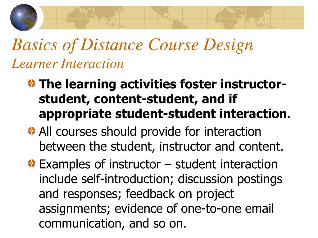 Basics of Distance Course Design