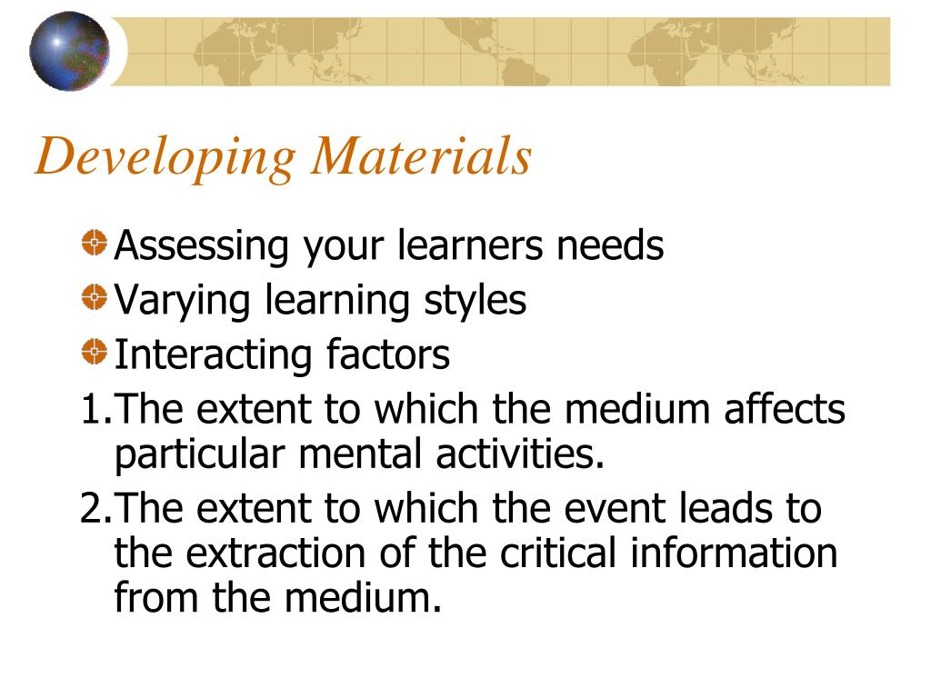 Developing Materials