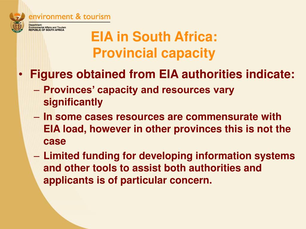 EIA in South Africa:              Provincial capacity