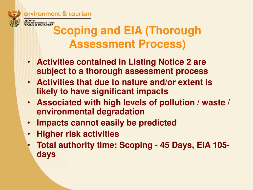 Scoping and EIA (Thorough Assessment Process)