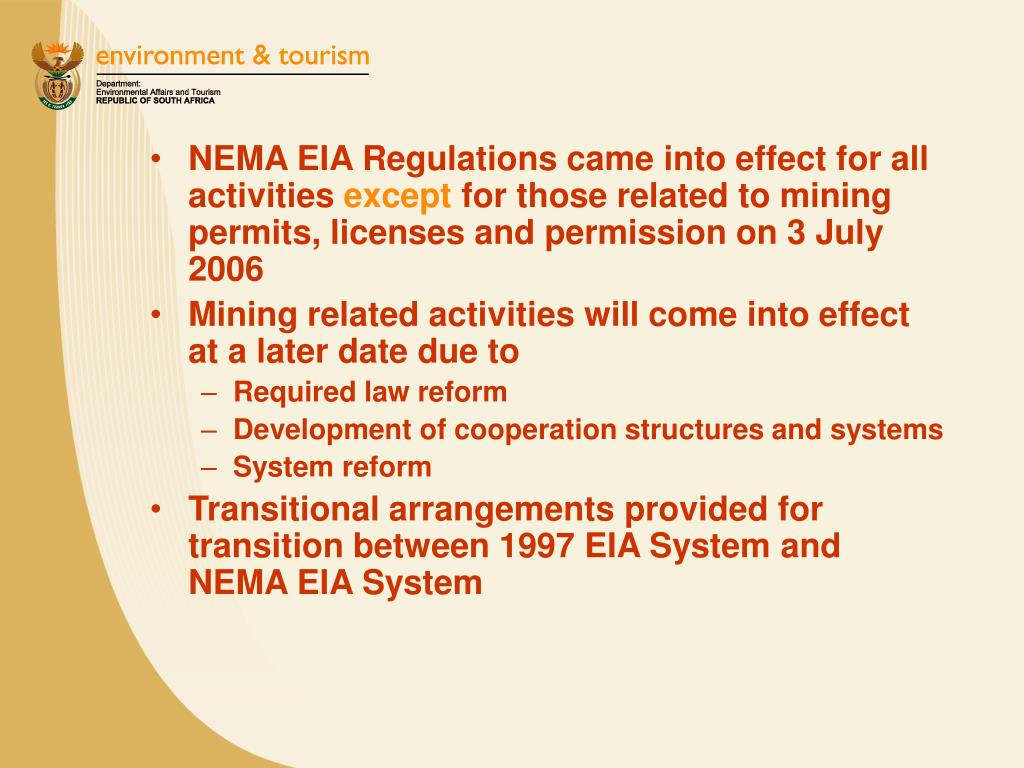 NEMA EIA Regulations came into effect for all activities