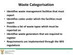 waste categorisation
