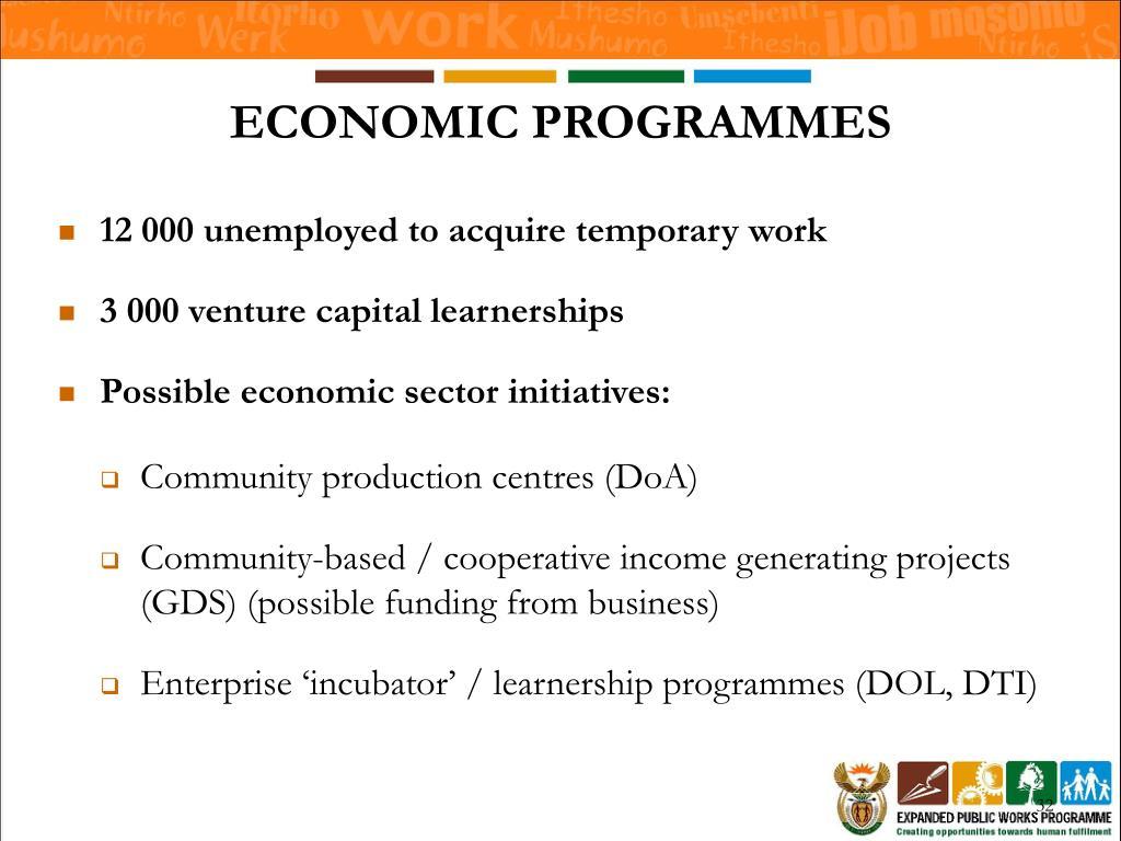 ECONOMIC PROGRAMMES